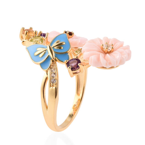 Jardin Collection - Pink Mother of Pearl, Hebei Peridot and Multi Gemstone Enamelled Butterfly Floral Ring in Yellow Gold Overlay Sterling Silver Ring, Silver wt 5.07 Gms
