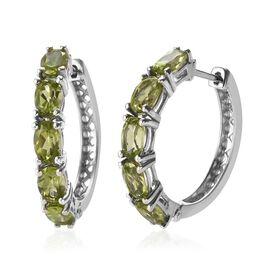 5.50 Ct Hebei Peridot Hoop Earrings in Platinum Plated Sterling Silver 4.60 Grams