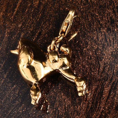 14K Gold Overlay Sterling Silver Poodle Dog Charm, Silver wt 5.19 Gms.