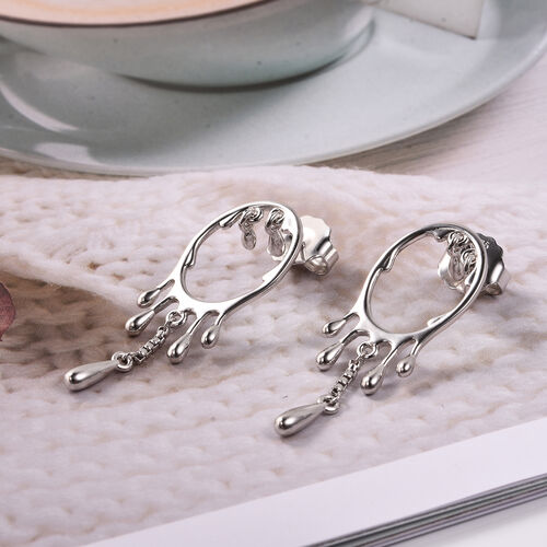 LucyQ Drip Collection - Melting Drip Earrings (with Push Back) in Rhodium Overlay Sterling Silver