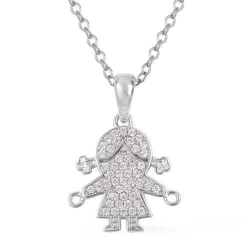 Simulated Diamond (Rnd) Happy Little Girl Pendant With Chain in Rhodium Overlay Sterling Silver, Silver wt 5.61 Gms.