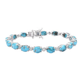 20.25 Ct Persian Turquoise and Diamond Tennis Style Bracelet in Platinum Plated Sterling Silver