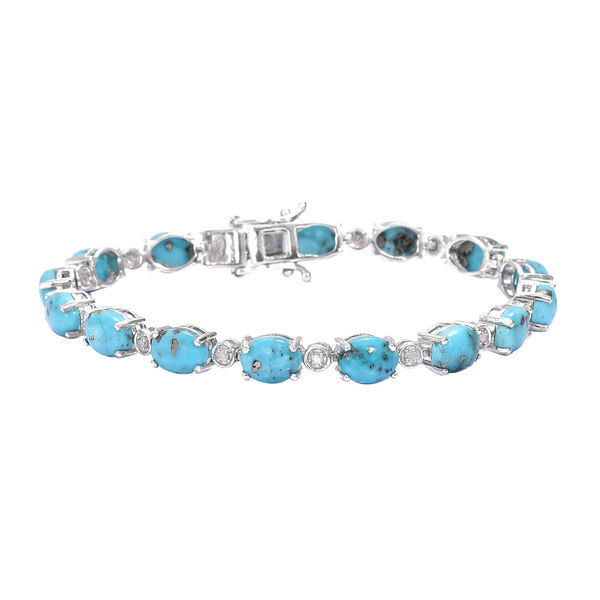Turquoise (Ovl), Diamond Bracelet (Size 7.5) in Platinum Overlay Sterling Silver 20.250 Ct, Silver w
