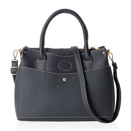 Classic Black Colour Multi Compartment Large Tote Bag with Removable Shoulder Strap (Size 32x23x13 C
