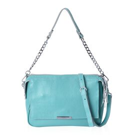 CLOSE OUT DEAL- 100% Genuine Leather Light Green Colour Litchi Pattern Cross Body Bag (Size 24x9x18