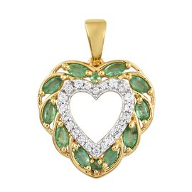 Kagem Zambian Emerald (Mrq), Natural Cambodian Zircon Heart Pendant in 14K Gold Overlay Sterling Silver 1.000 Ct.