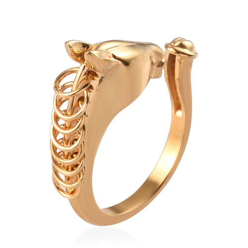 Sundays Child - 14K Gold Overlay Sterling Silver Horse Head Ring, Silver wt. 5.00 Gms
