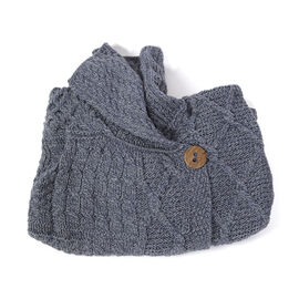 Limited Available - Carraig Donn 100% Merino Wool Knitted Women Cardigan with Pockets and Button-Blue- S size