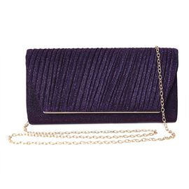 Glitter Stripped Clutch Bag with Shoulder Chain (Size 24.5x11.5x6 Cm) - Dark Purple