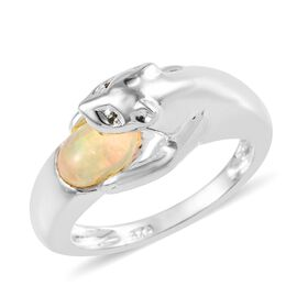 Ethiopian Welo Opal (Ovl), Green Diamond Panther Ring (Size N) in Sterling Silver 0.51 Ct.