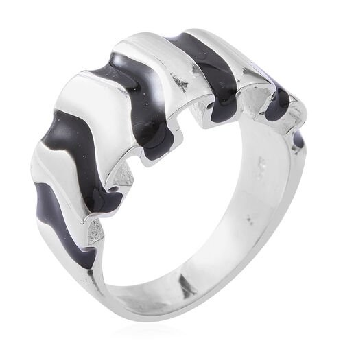 Designer Inspired- One Time Deal Sterling Silver with Black Enamel Wave Ring, Silver wt 8.50 Gms.
