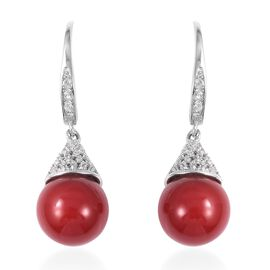 Haliotis Asinina Coral Colour Shell Pearl (Rnd 10 mm), Natural Cambodian Zircon Lever Back Earrings