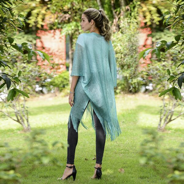JOVIE Lurex Kimono with Tassel (Size:90x90cm) -Turquoise