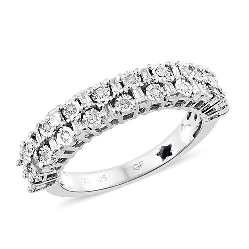 GP Diamond (Rnd and Bgt), Kanchanaburi Blue Sapphire Half Eternity Ring in Platinum Overlay Sterling
