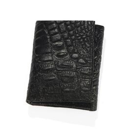 100% Genuine Leather Croc Embossed RFID Protected Trifold Wallet (Size 23x10 Cm) - Black