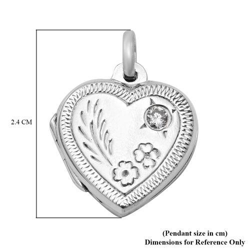 Valentine Special Mega Deal- Sterling Silver Floral Engraved Heart Locket Pendant