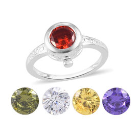 Interchangeable Simulated Multi Colour Diamond Ring in Sterling Silver