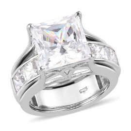 Set of 2 - J Francis Platinum Overlay Sterling Silver Rings amde with SWAROVSKI ZIRCONIA 14.15 Ct, S