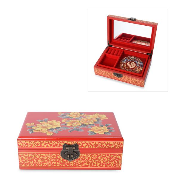 2 - Layer Begonia Pattern Jewellery Box with Inside Mirror and Removable Tray (Size 21x14x7.5 Cm) -