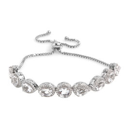 9 Carat Petalite Bolo Bracelet in Platinum Plated Sterling Silver 12.4 Grams