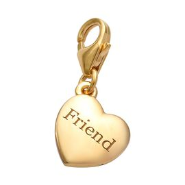 14K Gold Overlay Sterling Silver Friend Heart Charm