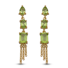 Natural Hebei Peridot Stud Earrings (with Push Back) in Yellow Gold Overlay Sterling Silver 3.76 Ct.