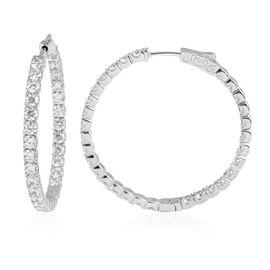 ELANZA Simulated Diamond Hoop Earrings in Rhodium Plated Sterling Silver 8.5 Grams