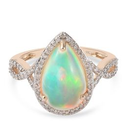 Super Find-9K Yellow Gold AAA Ethiopian Opal, White Diamond Ring 3.300  Ct.