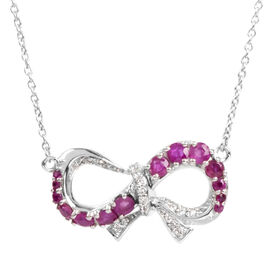 Burmese Ruby and Natural Cambodian Zircon Infinity Loop Necklace (Size 18) in Platinum Overlay Sterl