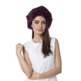 Purple Colour Faux Fur Hat (Size 56 Cm)