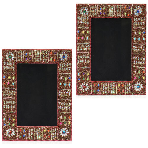 Home Decor - Handcrafted Red and Multi Colour Beads Embellished Photo Frame (Size 4X6 inch)