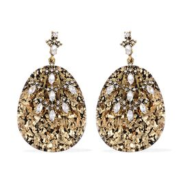 Easter Egg Shaped - Simulated Diamond, White Austrian Crystal, Mottled Meteor Shower Dangle Earrings (with Push Back) in Gold Plating