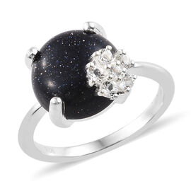Blue Sandstone (Rnd), White Topaz Ring in Sterling Silver 5.500 Ct.