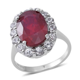 African Ruby (Ovl 9.00 Ct), Natural Cambodian White Zircon Ring in Rhodium Overlay Sterling Silver 1