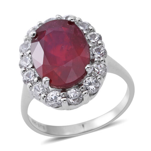 African Ruby (Ovl 9.00 Ct), Natural Cambodian White Zircon Ring in Rhodium Overlay Sterling Silver 11.720 Ct, Silver wt 5.52 Gms