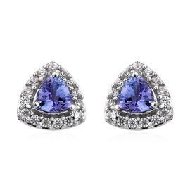 Tanzanite (Tri), Natural Cambodian Zircon Stud Earrings in Platinum Overlay Sterling Silver 1.500 Ct