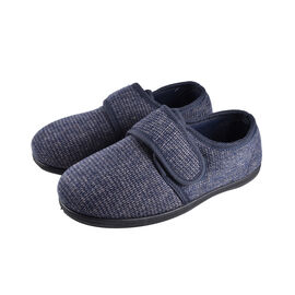 Dunlop Mens Strap Slippers with Faux Fur Lining and Memory In-Sock in Navy