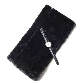 2 Piece Set - STRADA Japanese Movement Water Resistant Watch and Wine Black Colour Faux Fur Scarf (Size 78x9.5 Cm)