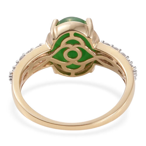 Limited Available-9K Y Gold Green Jade (Ovl 6.25 Ct), Natural Cambodian Zircon Ring 7.000 Ct.