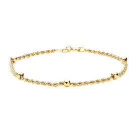 9K Yellow Gold Hollow Rope and Ball Bracelet (Size 7.25), Gold wt 1.60 Gms