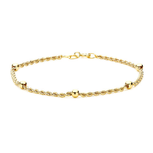 9K Yellow Gold Hollow Rope and Ball Bracelet (Size 7), Gold wt 1.60 Gms