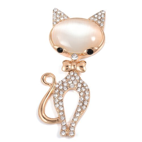 Simulated White Cats Eye (Ovl), White and Black Austrian Crystal Cat Brooch in Gold Plated