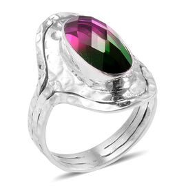 CHECKERBOARD CUT Royal Bali Collection Tourmaline Colour Quartz (Ovl) Ring in Sterling Silver 7.500 Ct.