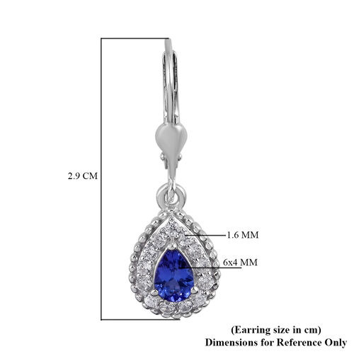Tanzanite and Natural Cambodian Zircon Lever Back Earrings in  Platinum Overlay Sterling Silver 1.50 Ct.