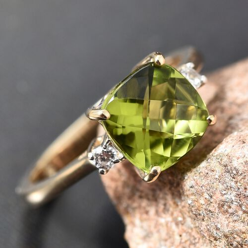 9K Yellow Gold Hebei Peridot ( Cush 2.25 Ct), Natural Cambodian Zircon Ring 2.350 Ct.