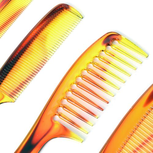 Set of 12 - Purple, Brown and Blue Colour Flat Comb