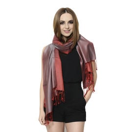 100% Superfine Silk Grey and Cherry Colour Jacquard Jamawar Scarf with Fringes (Size 180x70 Cm) (Wei