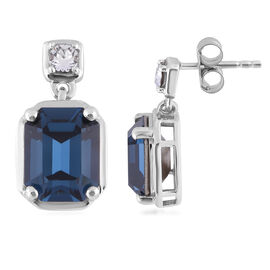J Francis Crystal from Swarovski Montana and White Crystal Earrings (with Push Back) in Platinum Ove