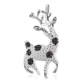 Black Diamond Deer Pendant in Sterling Silver