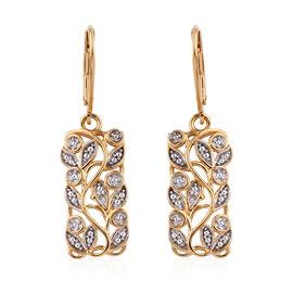 Diamond (Rnd) Leaves Earrings in 14K Gold Overlay Sterling Silver